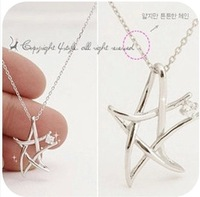vintage jewelry accessories fashion sparkling knitted five-pointed star necklaces for women