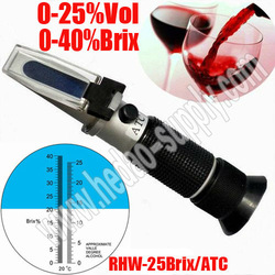Portable Handheld Manual calibration Wine Grape Alcohol Design Refractometer 0-40% Brix 0-25% VOL with ATC wine refractometer(China (Mainland))