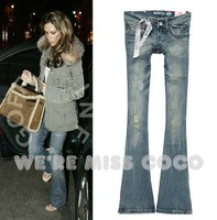 2013 New Spring/ Summer Style Sexy Good Shape Distressed Do Old Effect Mermaid Boot Cut Low Rise Jeans for Ladies Women