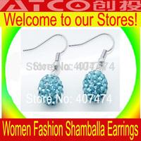Disco Ball Earrings Rhinestone Crystal Shamballa 925 Sterling Silver Charm Earrings Silver chose Color