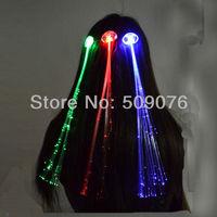 Free shipping 10pcs/lot40cm optical fibre red blue green led light braid glow braid flash headwear for concert