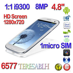 New arrival Real 8.66mm HD Super AMOLED 1280*720 MTK6577 1:1 I9300 S3 phone cortex-A9 dual core 1.0GHz 4.8 inch IPS screen 8MP(China (Mainland))