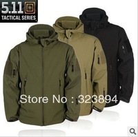 Shark Skin Soft Shell Tactical Jacket, Army Combat Outdoor Jacket-Black/Green/Sand