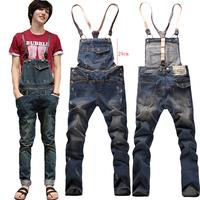 Suspenders multi-pocket jeans detachable suspenders bib pants holes denim overalls Free shipping