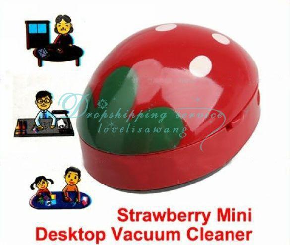 Cute Red Strawberry Mini Desktop Cleaner Desk Dust Desktop Cleaner Vacuum(China (Mainland))