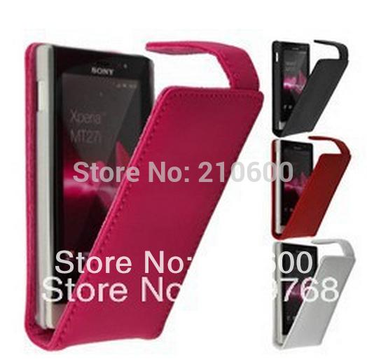 Original Flip Genuine Leather Case capa da pele para o Sony Xperia Sola MT27i telefone Bag grátis frete(China (Mainland))