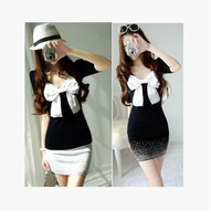 2012 autumn and winter dress sexy bow long-sleeve slim hip basic winter one-piece cute dress