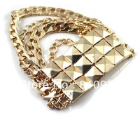 Latest jewelry fashion punk spike elastic design gold bracelet designs women free shipping