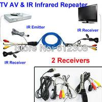 Freeshipping TV Extender AV Transmitter Sender 2 Receiver IR Infrared Repeater Cat5/6e NU201