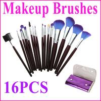 NEW!! 16 pcs Makeup Brush Kit  Makeup Brushes + Purple Leather Case, Free Shipping Dropshipping Wholesale