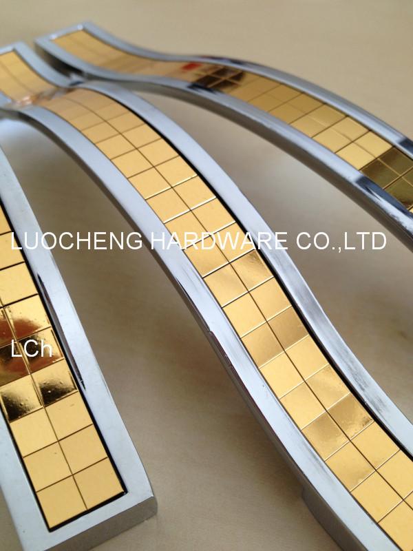 10 PCS/LOT FREE SHIPPING HOLE TO HOLE 96MM ZINC HANDLE CHROME FININSH W/ CHAMPAGNE GOLD ARCYLIC DECORATION PASTER(China (Mainland))