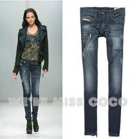 2013 New Style Sexy Hip Lifting Blue Splicing Zipper in Leg Opening Distressed Low Waist Skinny Jeans for Ladies Women