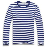 Men's Cotton O Neck Long Sleeve Striped Navy T Shirt Tee Size M-XXXL - Free Shipping