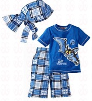 (5set/lot) new 2014 summer baby boys clothing set(scarf+t-shirt+pants) ,casual baby suits,children clothing set, wholesale