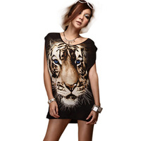 2014 New Fashion Style Tiger Long T-shirt  Grenadine Female Casual Tops Sexy Shirts Women's Summer Clothing Free shipping WTN002