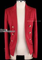 Male book red blazer men's suit outerwear plus size