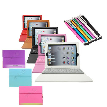 Free Shipping Anti-dust Wireless Bluetooth Keyboard PU Leather 8 Colors Stand Case Cover For iPad 2nd/3rd/4th &Free Stylus Pen