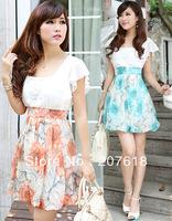 Summer New Arrival Women Plus Size XXL Mini Lantern Dress Lady Sexy Patchwork Print Chiffon Dresses