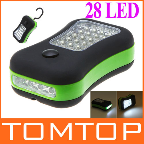 Portable 28 leds mini LED Flashlight Work Light with Magnet & 360 Degree Rotating Hanging Hook for Outdoors camping(China (Mainland))
