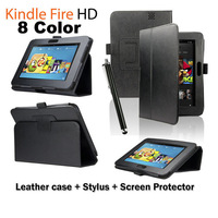 "8 Color 3in1 Free Shipping PU Leather Folding Flip Smart Case Cover Stand For New Amazon Kindle Fire HD 7""  Sleep Wake"