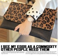 2013 new promotion women's fashion leopard print  horse leather day clutch bag evening bag small purse