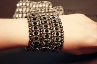 Free shipping hottest 1 lot/10pcs macy 3 row jewelry stretch charm bracelet elastic hand chain cuff bangle bracelet