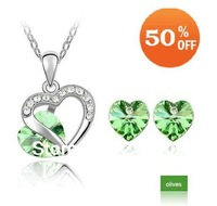 Wholesale Price Heart Pendent Crystal Jewelry Set Made With SWA Elements,Crystal Jewelry Set,Heart Jewelry Set,Fashion Set