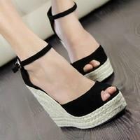 2014 Elegant fashion women's open toe button straw braid wedges sandals platform velvet platform wedges shoe high heels Hot sale