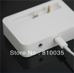Free shipping New Charger Charging Cradle Mount Dock Station & Data Sync For iPhone 5 5G White with 3.5mm audio output(China (Mainland))