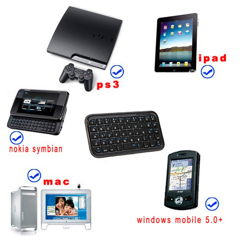 Mini wireless bluetooth 3.0 Slim keyboard for iphone ps3 Windows mobile cell phone tablet PC Accessories Free Shipping wholesale(China (Mainland))