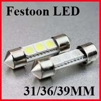 free shipping 500pcs 36mm 39mm 41mm 3 SMD 5050 white light LED Indicator festoon Light Car Interior light bulb