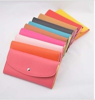 Free shipping Hot Retail 2012 new arrival fashion desiner lady leather purses and wallets 12 candy colors