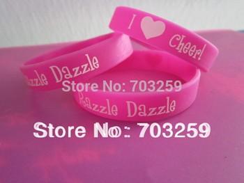 500pcs I love cheer Razzle Dazzle rubber silicone bracelet  EG-WBP001 custom neon colour heart bracelet & bangles wholesale