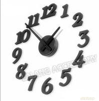 New Fashion 1piece/lot Adhesive DIY Black ABS Plastic Room Decor Clock Wall Digital Clocks House Decoration ej670108