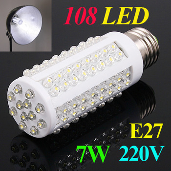 Ultra bright LED bulb 7W E27 220V Cold White light LED lamp with 108 led Spot light 360 degree corn lamp Free shipping Wholesale