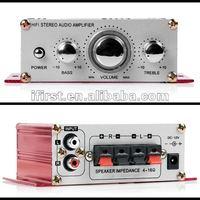 Super Mini MP3 Car Home Audio Stereo Speaker audio home amplifier HIFI Amplifier RED 1pcs free shipping