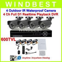 Home 4CH CCTV DVR 600TVL Day Night Weatherproof Security Camera Surveillance Video System 4ch Kit for DIY CCTV Camera D1 DVR kit