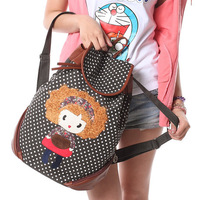 Women Printing Backpack Canvas Casual Cartoon Lilliputian Polka Dot Children Student School Bags