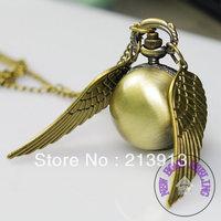 FREE DHL!!! 100pcs  wholesale Harry Potter Gold Snitch Pocket Watch Necklace