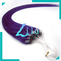 """18"""" 45cm Natural Silky Straight Micro Loop Ring/Beads Hair Extensiont #lila,100s per pack"""