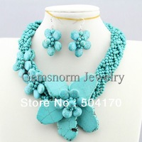 Fabulous Turquoise Necklace+Earrings Jewelry Set Euramerican Turquoise Twisted Party Necklace Set Fancy Jewelry TN066