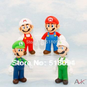 "Free shipping Super Mario Bros Luigi Mario PVC Action Figures Toys Dolls 5"" 12CM 4pcs/lot"