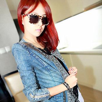 2015 spring women 's fashion denim jackets vintage rhinestone paillette 3/4 sleeve Sequined outerwear QY13012305