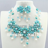 Pretty Handmade Flower Assorted Turquoise Necklace Earrings Set Romantic Wedding Jewelry Set TN068