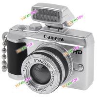 Mini Camera Flash Lucky Charm Key Chain Keychain Toy with LED Flash Light & Lens Mini Camera Toy DSLR Toy
