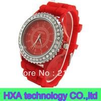 2013New Geneva Classic Silicone Watch Gel Crystal Men Lady Jelly Wrist Quartz Watch ,Ladies watch