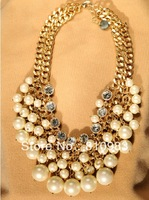 2013 fashion jewelry charming luxury imitation pearl chunky necklace FREE SHIPPING