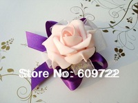 2013  Free Shipping  PU Arificial Rose Wrist Flower Corsage  in Wedding Decoration FL305