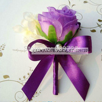 2013 New European hand Artificial Rose  wrist Flower with Orchid Petals Purple Corsage in Wedding Decoration FL1206