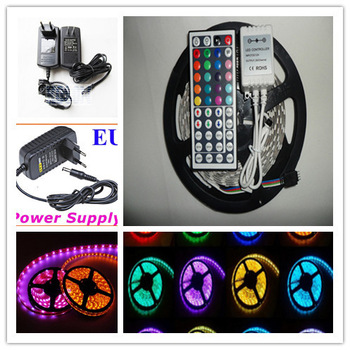 Hot sell Low price 3528 300Led 16Ft waterproof IP65  RGB led strip 44keys IR Green/ white / blue / red led strip With 2A Power